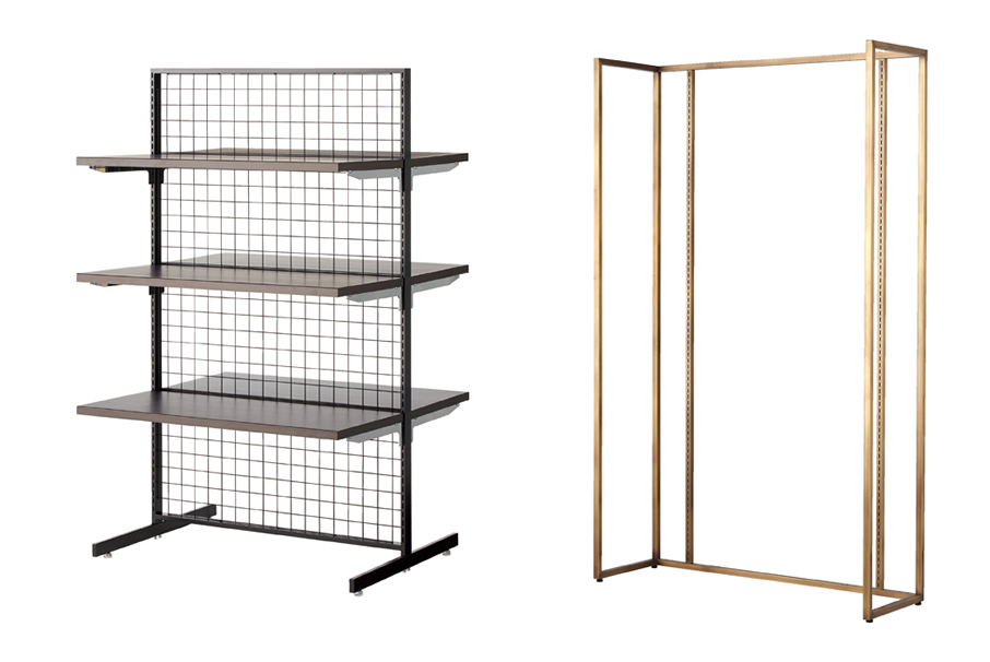 mesh backboard double-sided  wooden shelf square frame and display frame antique gold etc
