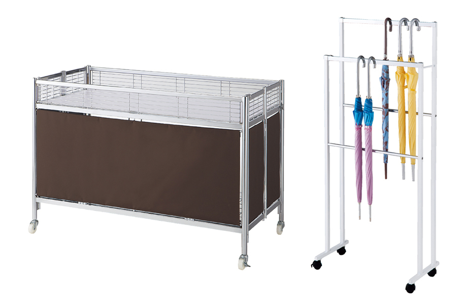 two-tier umbrella rack and folding dump table etc