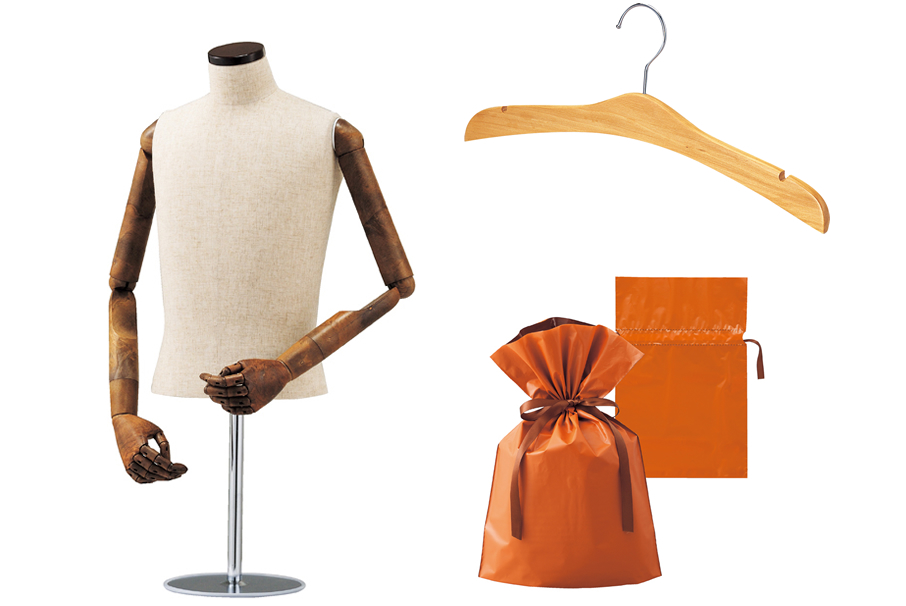 wooden clothes hanger and male table-top torso mannequin with flexible arms and wrapping bag etc